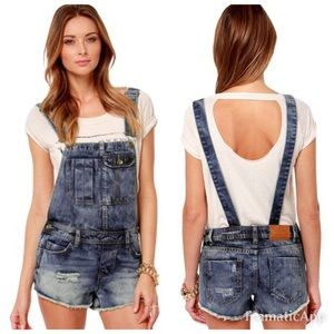 Billabong Ovah N Ovah Overall Shorts Distressed S